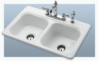 """33"""" x 22"""" x 7-3/16"""" Undermount Double Bowl Kitchen Sink - GARNET II, White, Cast Iron"""