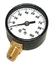 "0 to 100 psi Pressure Gauge - 1/4"" MPT, Steel Case, 2"" Brass Face"