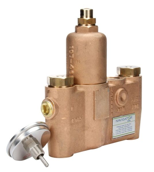"3/4"" x 1"" Chrome Plated Rough Bronze Thermostatic Mixing Valve - Navigator, NPT, 26 GPM, 125 psi"