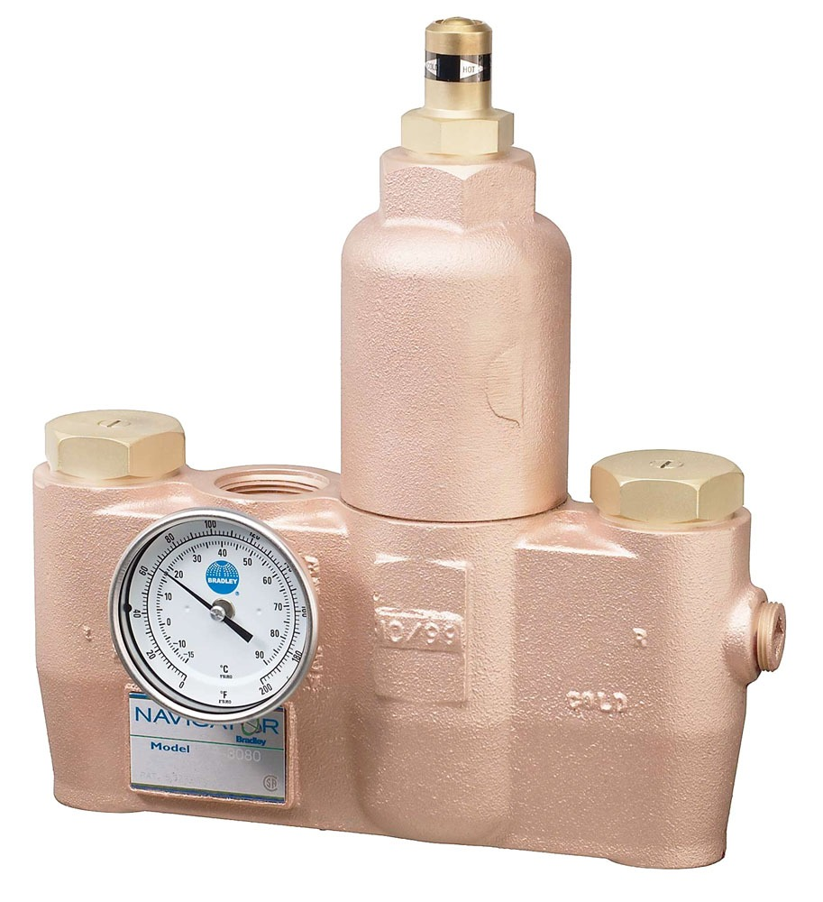 """1"""" x 1-1/4"""" Brass High / Low Thermostatic Mixing Valve - NPT, 80 GPM, 125 psi"""