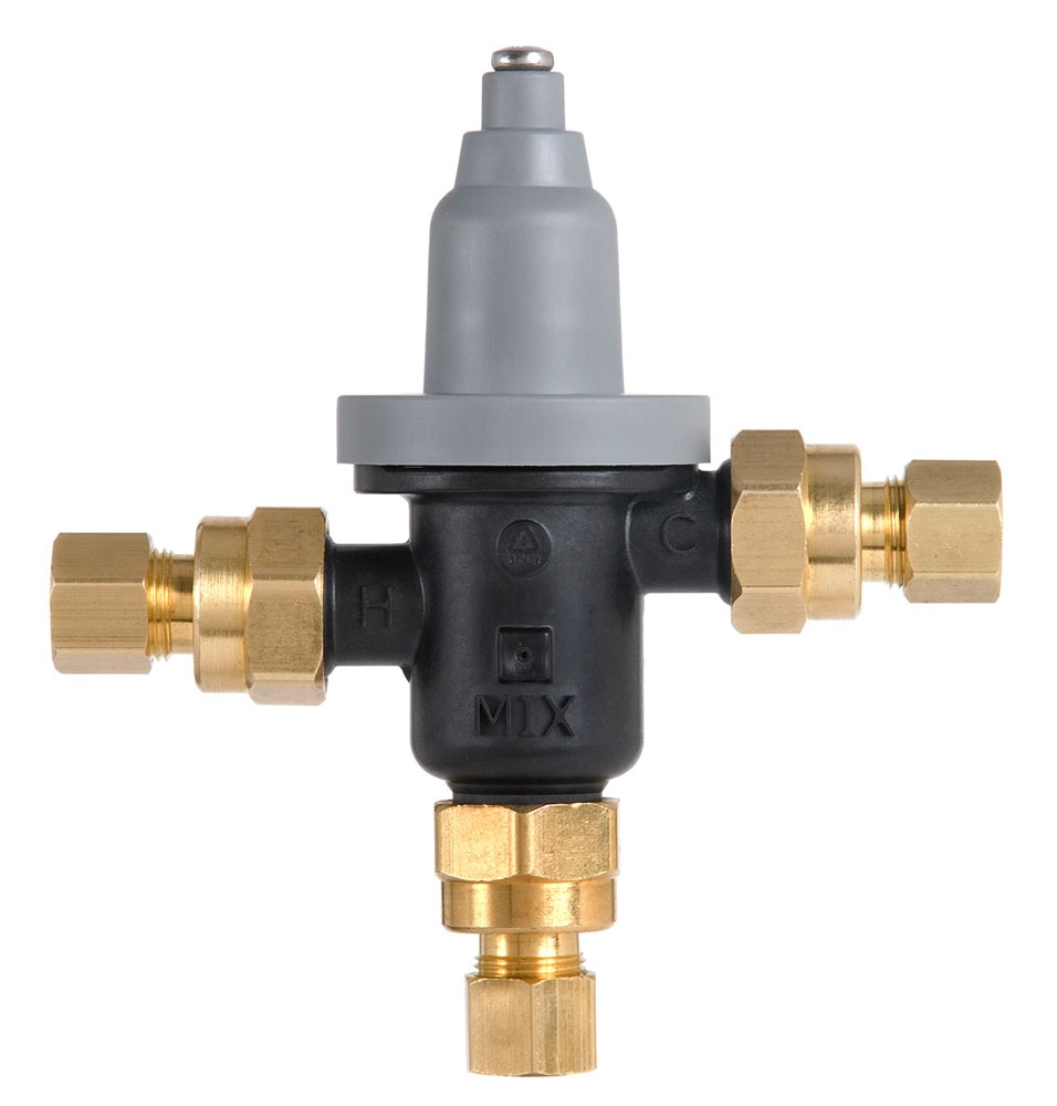 "3/8"" Compression Thermostatic Mixing Valve, Glass-Filled Polysulfone"