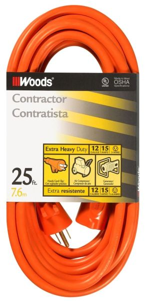 100' 12/3 SJTW Extension Cord - Orange PVC Jacket, NEMA 5-15P/5-15R, 125 VAC, 15 A