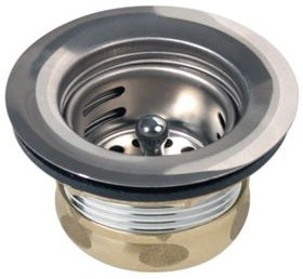 3-1/2 Polished Stainless Steel Drain with Removable Basket Strainer and Rubber Stopper