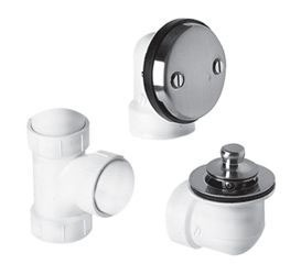 Economy Lift and Turn Trim Bath Waste and Overflow Plumber Half Kit - 2-Hole Faceplate, PVC, Brushed Nickel