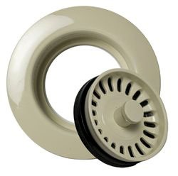 Garbage Disposal Flange Kit - With Strainer/Stopper, Plastic, Biscuit
