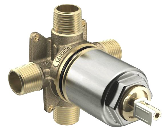 "1/2"" Pressure Balancing Tub and Shower Valve - Cornerstone / Edgestone, NPT / Soldered, Brass, 4-Port"