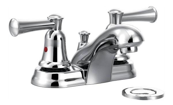 Bathroom Sink Faucet with Two Lever Handle - Capstone, Chrome Plated, Deck Mount, 1.2/1.5 GPM