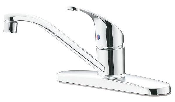 Kitchen Faucet with Single Lever Handle - Flagstone, Chrome Plated, Deck Mount, 1.5 GPM