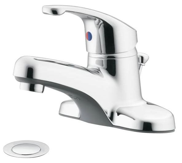 Bathroom Sink Faucet with Single Lever Handle - Flagstone, Chrome Plated, Deck Mount, 1.2/1.5 GPM