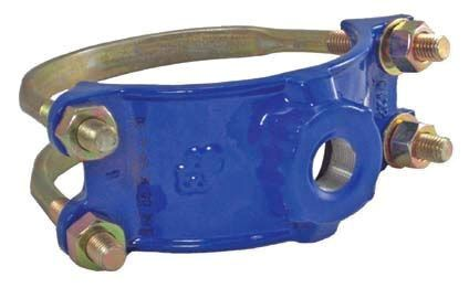 "4"" Ductile Iron Double Bale Service Saddle - 1"" NPT Tap, 4.4"" to 4.8"" Pipe OD"