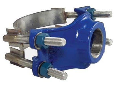 """6"""" Ductile Iron Double Strap Service Saddle - 1"""" NPT Tap, 5.94"""" to 6.9"""" Pipe OD"""