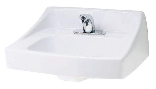 "20-7/8"" x 18"" Wall Mount Bathroom Sink - 1-Hole, White, Vitreous China"