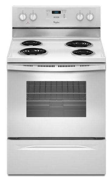 "30"" Freestanding Electric Range with Self Cleaning - 1500 W, 4-Burners, White and Black"