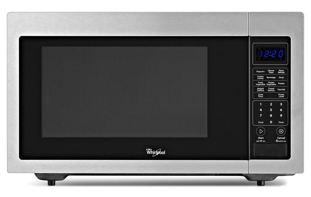 "21-3/4"" Black on Stainless Steel Microwave Oven - Countertop, 1.6 Cu Ft"