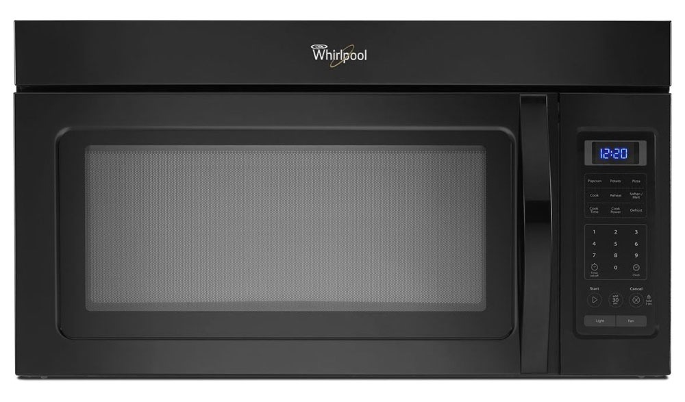 "30"" Black Microwave Oven with Hidden Vent - Over the Range, Hood Combination, 120 VAC, 1.7 Cu Ft"