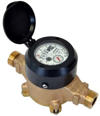 """1-1/2"""" Magnetic Drive Positive Displacement Oscillating Piston Water Meter, Brass Alloy"""