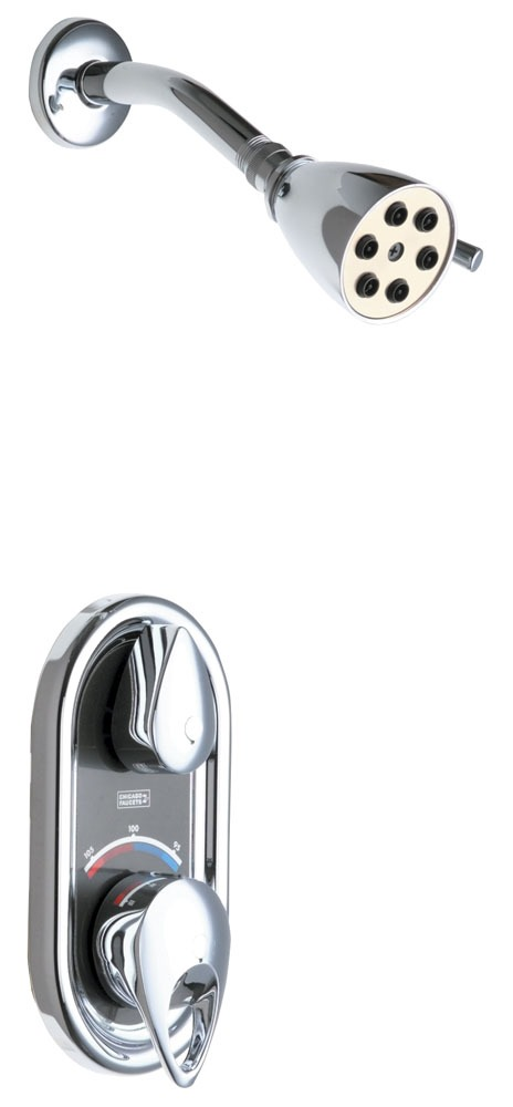 Shower Valve with Shower Head - TempShield, Chrome Plated, Wall Mount, 2.5 GPM