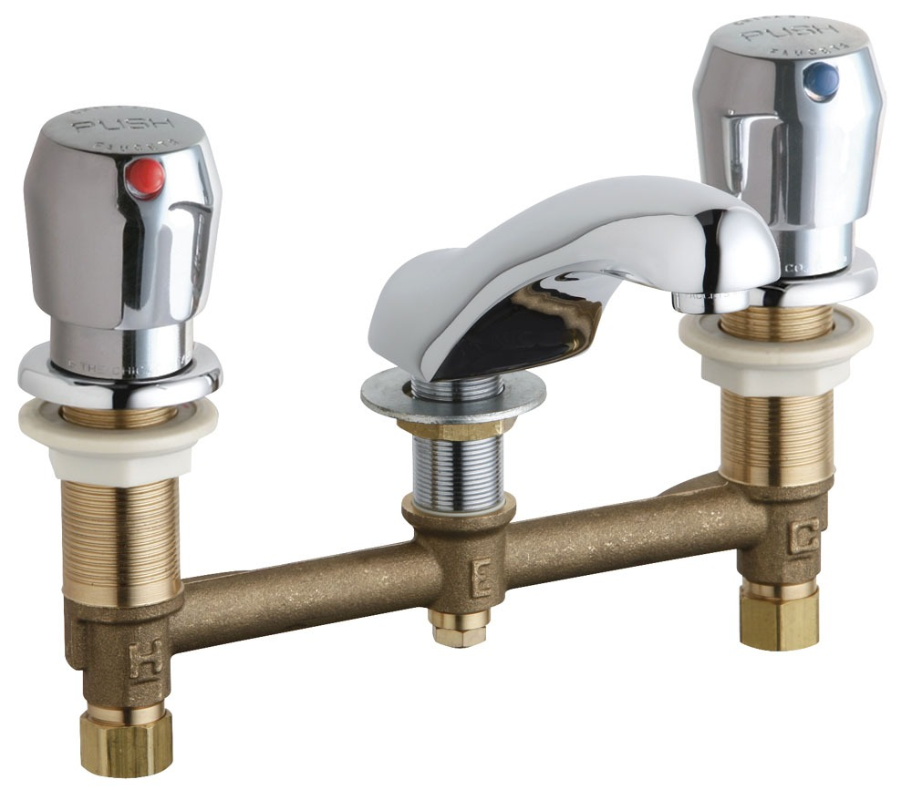 Hot and Cold Water Metering Sink Faucet with Rigid Spout & Two Push Handle - ECAST, Chrome Plated, Deck Mount, 2.2 GPM