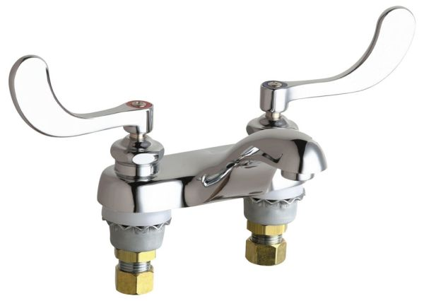 Hot and Cold Water Sink Faucet with Integral Spout & Two Wrist Blade Handle - ECAST, Chrome Plated, Deck Mount, 2.2 GPM