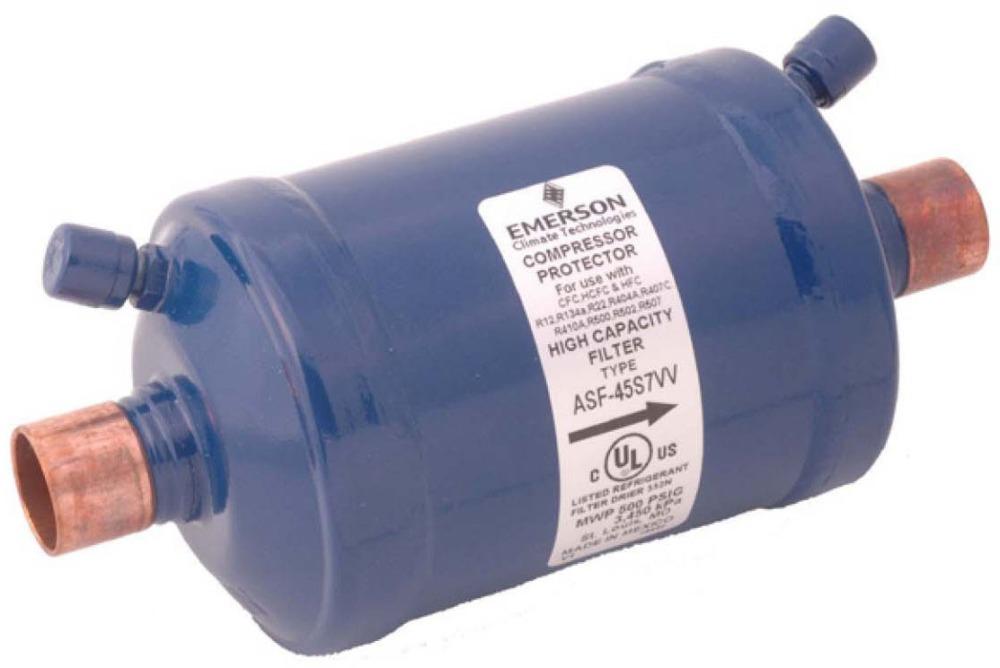 """75 Cu Inch Unit 40 Micron Dual Access Valve Compressor Suction Line Filter - 1-3/8"""" ODF, 500 psi"""