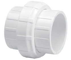 "3/4"" PVC Straight Union - SCH 40, Solvent Cement Socket"