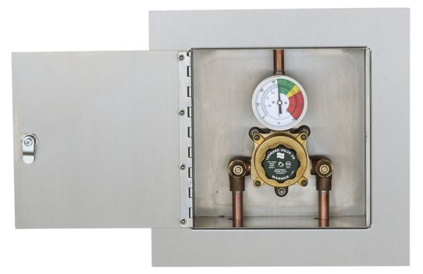 "1/2"" Chrome Plated Thermostatic Mixing Valve with Steel Baked Enamel Exposed Cabinet - ECO-MIX, Soldered, 125 psi"