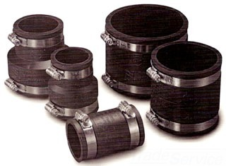 1-1/2CI/PL X 1-1/2CI/PL 300 Stainless Steel DWV Flexible Transition Pipe Coupling
