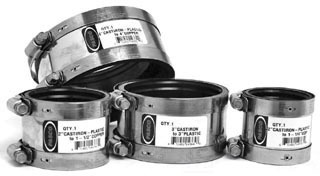 2CI/PL X 1-1/2COP/1-1/4PL 300 Stainless Steel DWV Flexible Shielded Transition Pipe Coupling