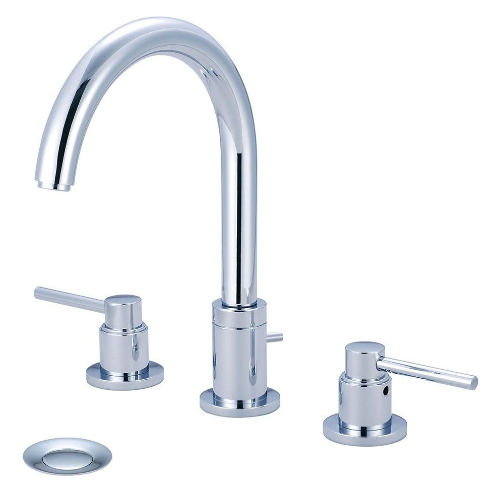 Bathroom Sink Faucet with Gooseneck / 360D Swivel Spout & Two Lever Handle - MOTEGI, PVD Polished Chrome, Deck Mount, 1.5 GPM