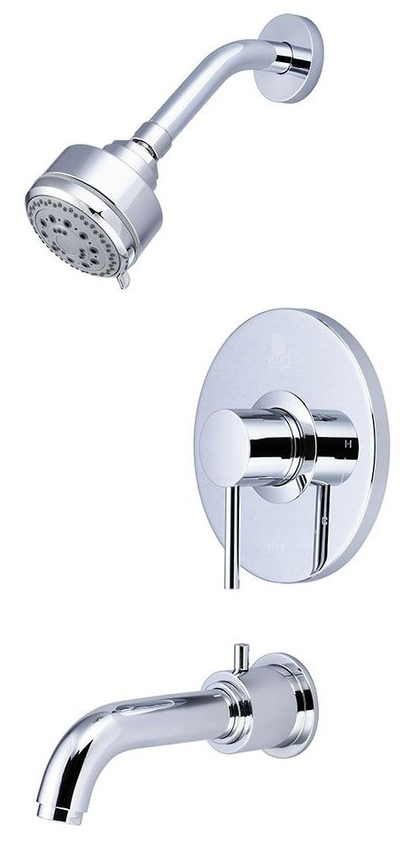 Tub and Shower Trim Set with Diverter Spout & Single Lever Handle - MOTEGI, PVD Polished Chrome, Wall Mount, 1.75 GPM