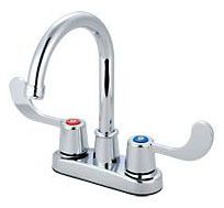 Bar Faucet with Gooseneck Spout & Two Blade Handle - ELITE, Chrome Plated, Deck Mount, 1.5 GPM