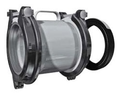 "6"" Ductile Iron Wide Range Repair Coupling - 6.6"" to 7.6"" OD, 10.96"" Width, Straight, Bolted"