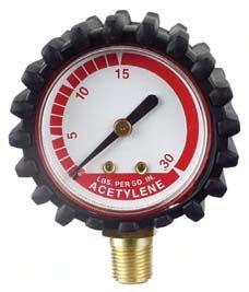 """2"""" Welding Regulator Gauge - 0 to 600 psi, Gold Steel, Bottom Mount"""