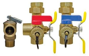 Threaded Union/Threaded Water Heater Service Valve Kit, Forged Brass