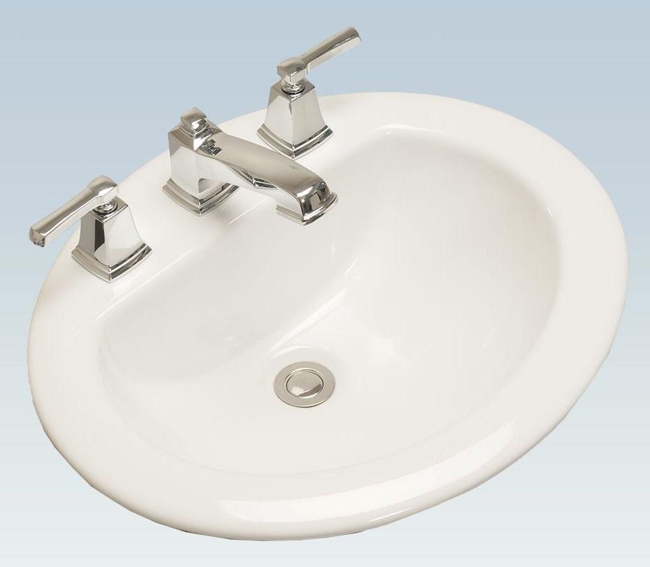 "20.28"" x 17.32"" Drop-In Mount Bathroom Sink - 3-Hole, Cashmere"