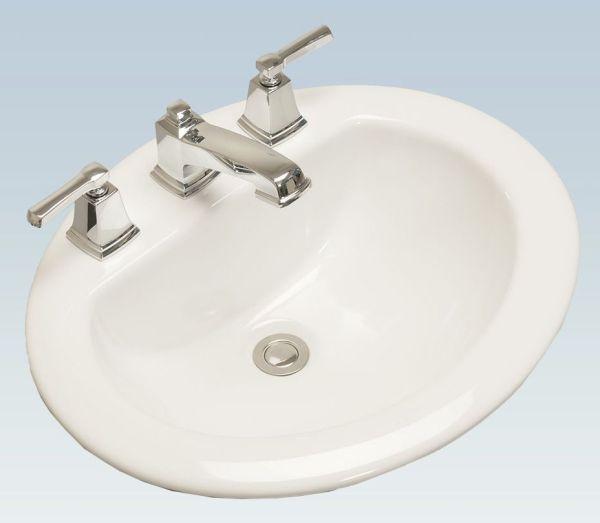 "20.28"" x 17.32"" Drop-In Mount Bathroom Sink - 3-Hole, White"