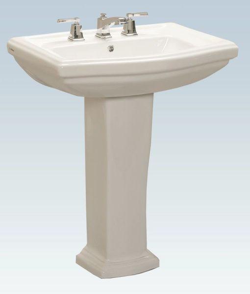 "27"" x 19.65"" D Shape Pedestal Bathroom Sink - Tuscany, White"