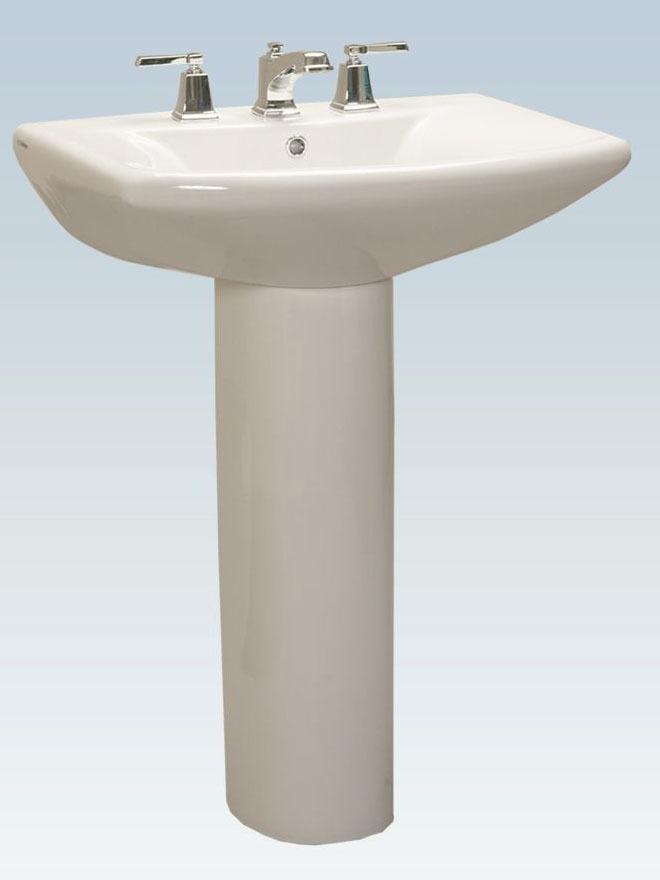 "25.842"" x 20.236"" Rectangle Shape Pedestal Bathroom Sink - White"