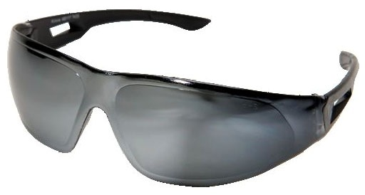 Silver Mirror Lens Safety Glasses - Black Frame