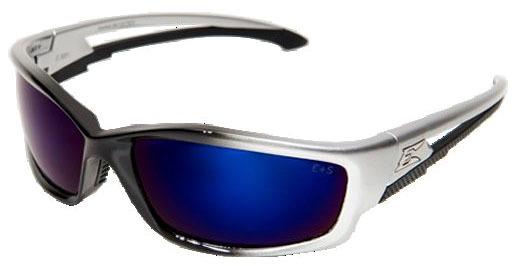 Blue Mirror Lens Safety Glasses - Silver / Black Frame