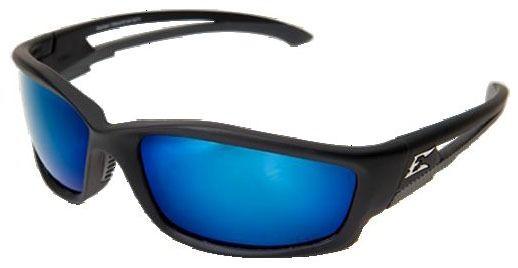 Aqua Precision Blue Mirror Lens Safety Glasses - Rubberized Matte Black Frame