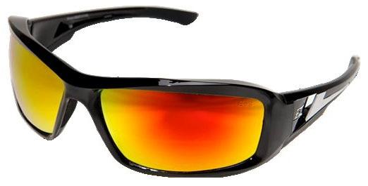 Aqua Precision Red Mirror Lens Safety Glasses - Gloss Black Frame