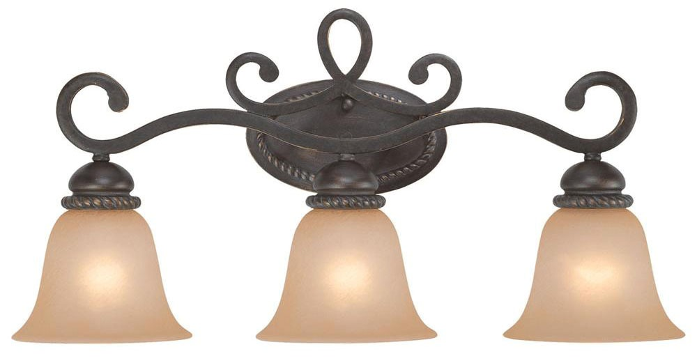 3-Light 100 W Type A Incandescent Vanity Light Fixture - Jeremiah Lighting / Highland Place, Mocha Bronze, Medium Base