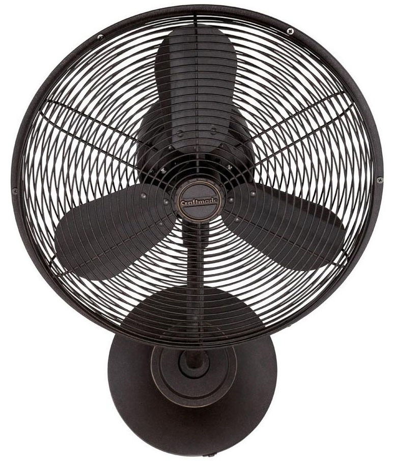 3-Speed Wall Fan - Bellows I, Aged Bronze Textured, 3-Blade, 16""