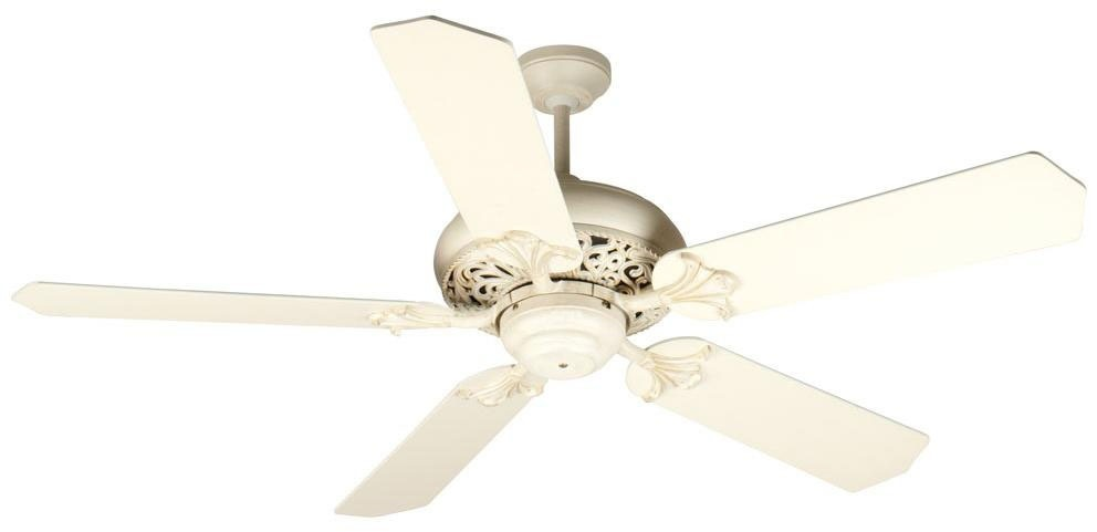 3-Speed Reversible Ceiling Fan Motor - Mia, 120 V, 78/120/210 RPM, Antique White Distressed, with Formed Bowl Light Kit