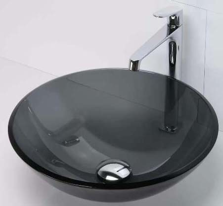 "17"" x 5-1/2"" Countertop Mount Bathroom Sink - Translucence, Transparent Black, Tempered Glass"