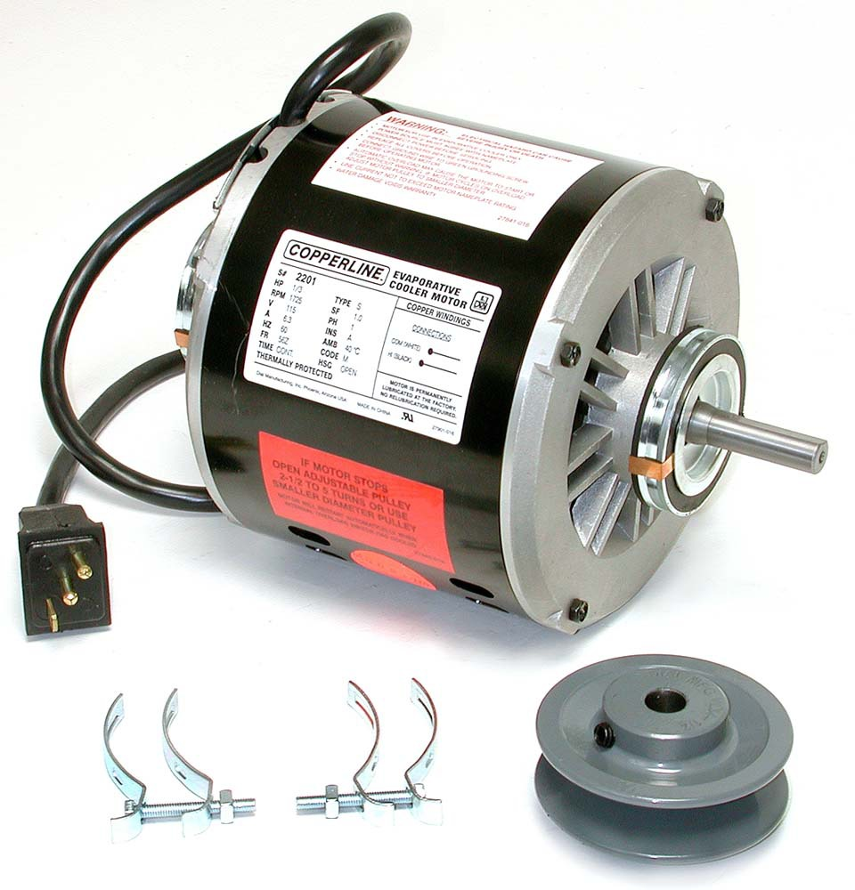 "3/4 HP Evaporative Cooler Motor Kit - 115 V, 2-Speed, 1/2"" Shaft, 3-1/4"" x 1/2"" Pulley"
