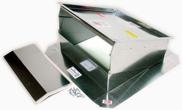 "18"" Galvanized Sheet Metal Evaporative Cooler Roof Jack - Multi-Pitch, with Slide-In Damper"