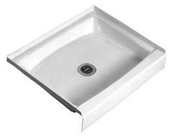 "34-3/16"" x 21-3/16"" 1-Piece Rectangle Shower Floor - CASCADE, White, Durable Molded Stone"