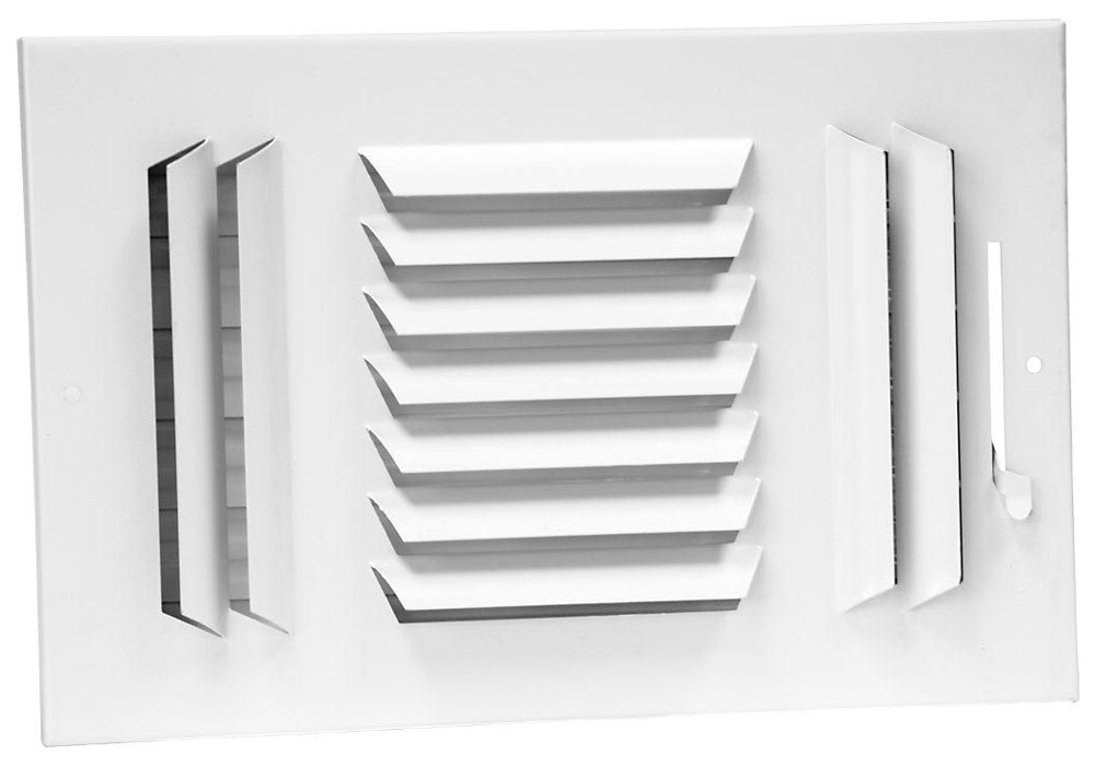 """10"""" x 8"""" Steel 3-Way Register - Bright White, Multi-Shutter Damper with Metal Lever, Stamped Curved Blade"""